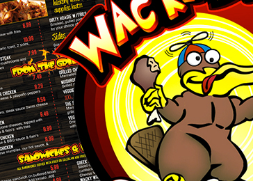 wackadoos orlando logo and menu design